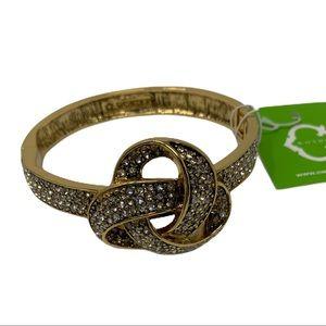 C Wonder rhinestone knot hinge cuff gold color